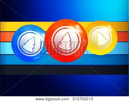 3D Illustration of Blue Background with Christmas Bingo Lottery Balls with Decorative Abstract Christmas Tree Over Multicoloured Stripes