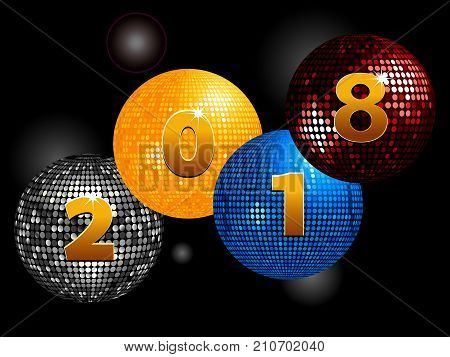 Disco Balls with 2028 New Years in Number Over Glowing Black Background