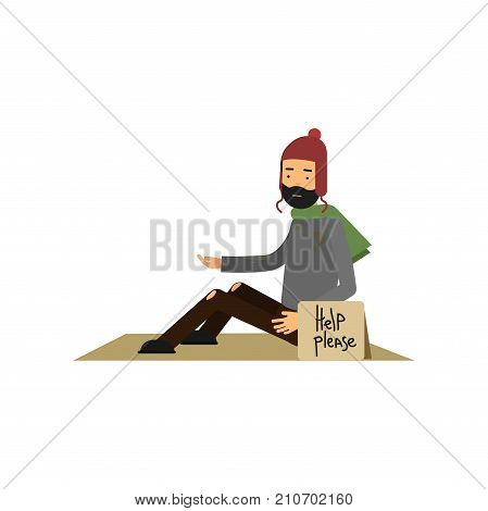 Homeless man in ragged clothes sitting on street asking for help, unemployment man needing for help cartoon vector illustration isolated on a white background