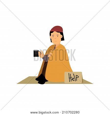 Homeless woman sitting on the street asking for help, unemployment woman needing for help cartoon vector illustration isolated on a white background