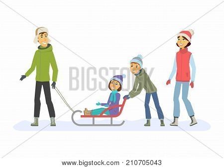Family weekend - cartoon people characters illustration. Concept of winter outdoor activity, New Year, Christmas, weekend. Smiling mother and father with children go for a walk and sledge