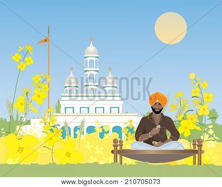 an illustration of a sikh man taking a break from duties at the temple in a rural setting under a blue sky in punjab
