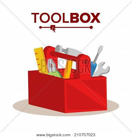 Red Classic Toolbox Vector. Full Of Equipment. Flat Cartoon Isolated