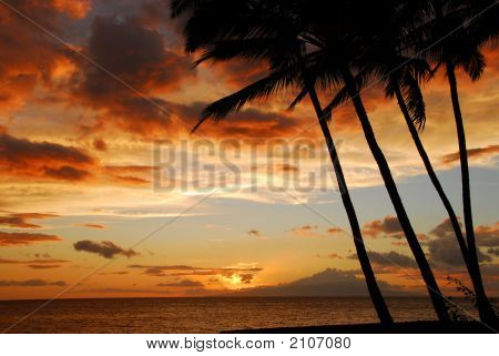 Sunset Sky On The Island Of Maui