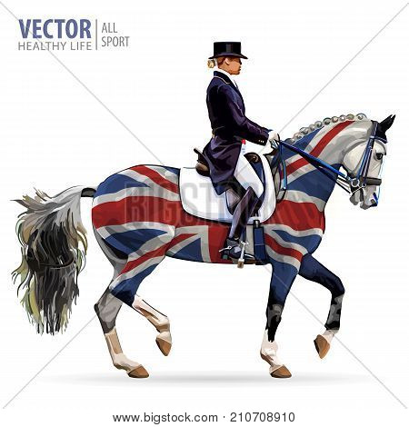 Equestrian sport. Horsewoman jockey in uniform riding horse outdoors. Dressage. Isolated on white background. Jockey on horse. Bay horse. United Kingdom flag. Vector illustration poster
