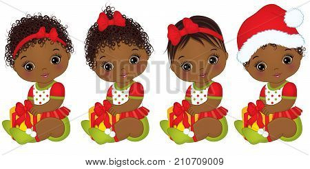 Vector cute little African American baby girls wearing Christmas clothes. Vector baby girl. Vector Christmas baby girls with gift boxes. African American baby girls vector illustration