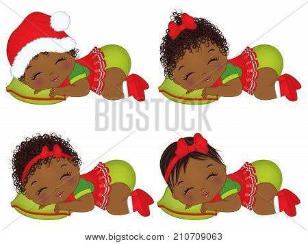 Vector cute little African American baby girls wearing Christmas clothes. Vector baby girl. Vector Christmas baby  girls sleeping. African American baby girls vector illustration