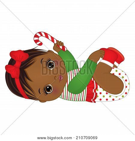 Vector cute little African American baby girl wearing Christmas clothes. Vector Christmas baby girl. Vector baby girl with candy stick. African American baby girl vector illustration