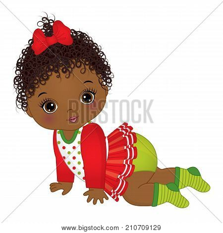 Vector cute little African American baby girl wearing Christmas clothes. Vector baby girl. Vector Christmas baby girl. African American baby girl vector illustration