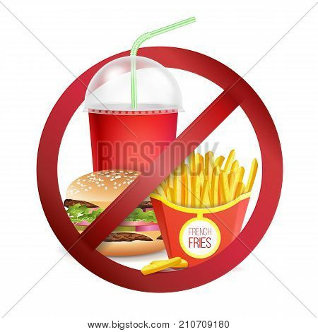 Stop Fast Food Vector. No Food Or Drinks Allowed Icon. Isolated Realistic illustration.