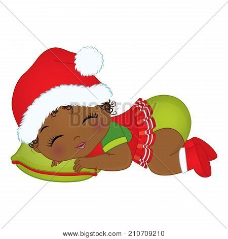 Vector cute little African American baby girl wearing Christmas clothes. Vector baby girl. Vector Christmas baby  girl sleeping. African American baby girl vector illustration