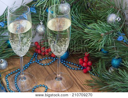 Christmas And New Year Composition, Champaign Glasses, Pine, Ornament