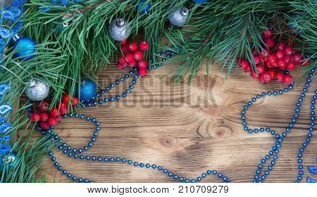 Christmas And New Year Ornament Decor Background With Copy Space