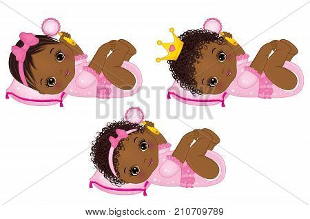Vector cute little African American baby girls dressed as princesses. Vector little princess. Vector baby girl with rattle. African American baby girls vector illustration