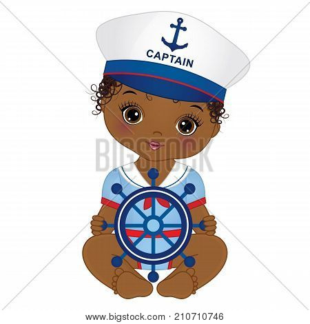 Vector cute little African American baby girl dressed in nautical style. Vector baby girl with ship wheel. Vector baby girl. African American baby girl vector illustration