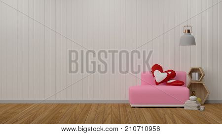 pink sofa in simple living room in front of white wall interior design 3D illustration Scandinavian interior design  valentine heart pillow decoration room with lamp decoration room