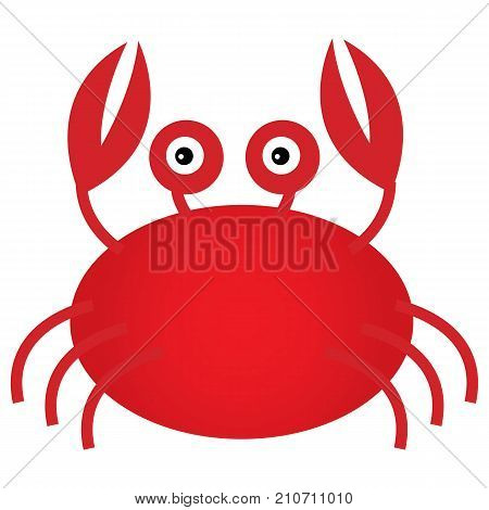 Vector cute cartoon crab. Vector crab. Crab vector illustration