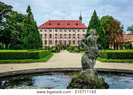 Czech baroque castle Libochovice in sunny day