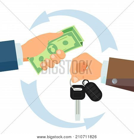 Hand Giving Car Keys Vector. Business Car Rental, Sale Concept. Car Salesman And New Owner. Holding Car Key, Money. Flat Cartoon Isolated