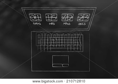 Laptop With Countdown On The Screen
