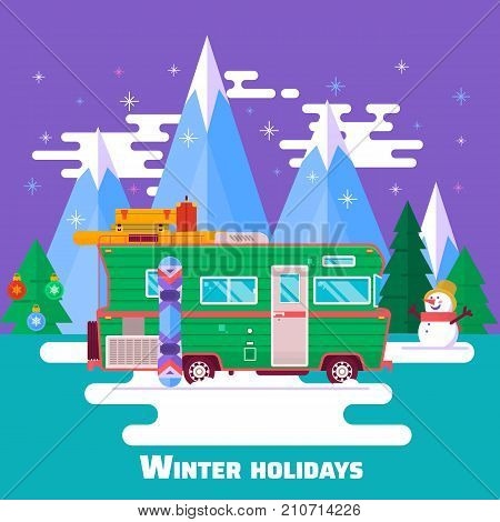 Winter holidays. Winter holidays in the mountains. Trip on a winter vacation in the mountains. Tourism and vacation theme. Flat design vector illustration.