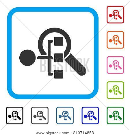Explore Structure icon. Flat grey iconic symbol in a light blue rounded squared frame. Black, gray, green, blue, red, orange color variants of Explore Structure vector.
