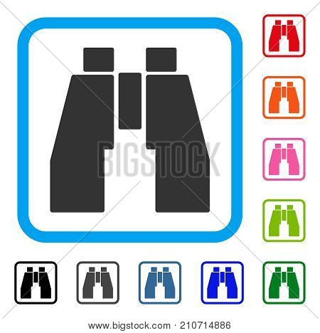 Find Binoculars icon. Flat grey pictogram symbol in a light blue rounded rectangular frame. Black, gray, green, blue, red, orange color versions of Find Binoculars vector.