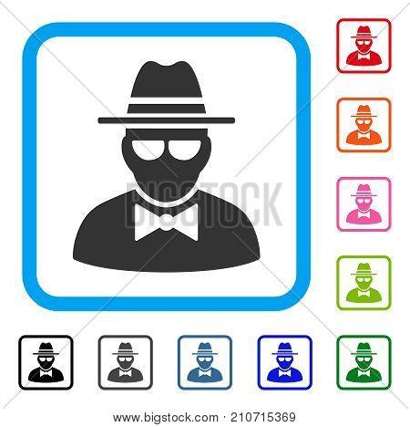 Secret Agent icon. Flat gray pictogram symbol inside a light blue rounded rectangular frame. Black, gray, green, blue, red, orange color versions of Secret Agent vector.