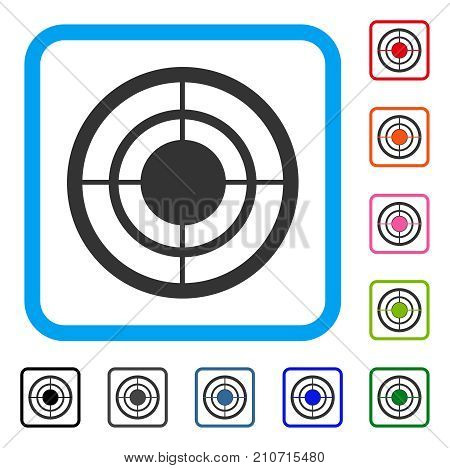 Target icon. Flat gray iconic symbol in a light blue rounded squared frame. Black, gray, green, blue, red, orange color variants of Target vector. Designed for web and app user interface.