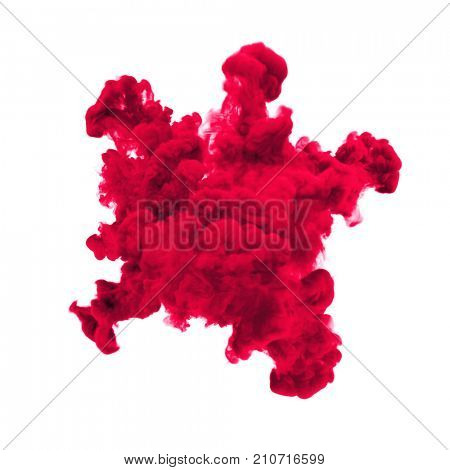 Paint powder explosion or abstract color splash of red yellow particles burst isolated on black background. Abstract color glitter explode with glowing shimmer texture effect for cosmetic background