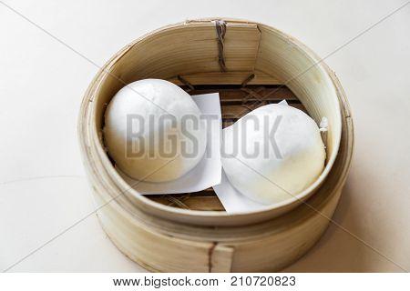 Chinese dim sum BBQ Pork Bun - Steamed Chinese groumet cuisine