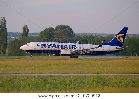 BUDAPEST, HUNGARY - MAY 27, 2015: Airliner of Ryanair landing at Budapest Liszt Ferenc Airpor. Ryanair is the largest low-cost carrier in Europe