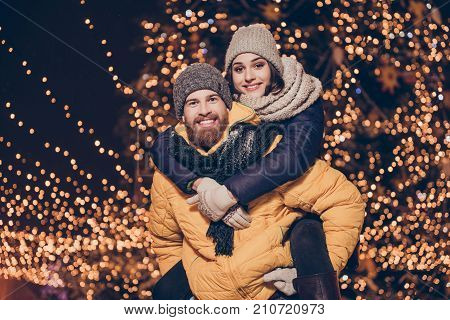 Handsome Red Bearded Guy Is Piggy Backing His Cute Lover, Wearing Winter Warm Outfits, Head Wear, Be