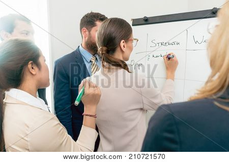 Female executive director writing on a paper board the positive attributes of a new business project during board of directors meeting in the office