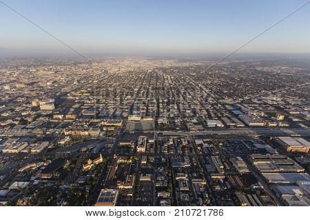 Afternoon aerial view of streets and buildings south of downtown Los Angeles in Southern California.