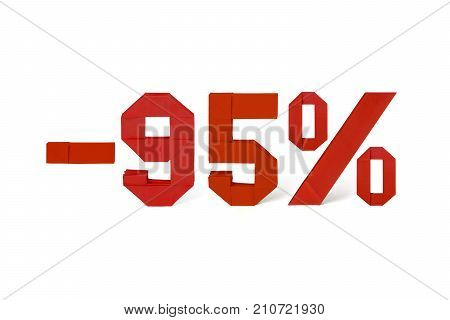Origami paper red text of discount sale 95 percent on white background