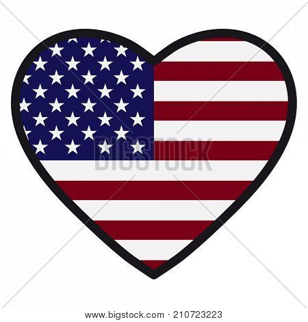 Flag of America in the shape of Heart with contrasting contour, symbol of love for his country, patriotism, icon for Independence Day.