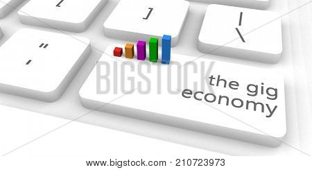 The Gig Economy With One Keyboard Button Click 3D Illustration Render