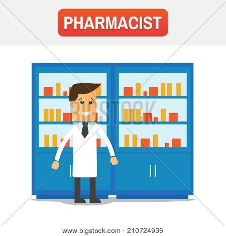 Male Pharmacist In A Pharmacy Opposite The Shelves