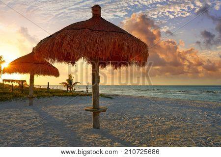 Holbox Island beach sunroof palapa in Quintana Roo of Mexico