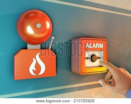 Fire alarm activation. 3D illustration.