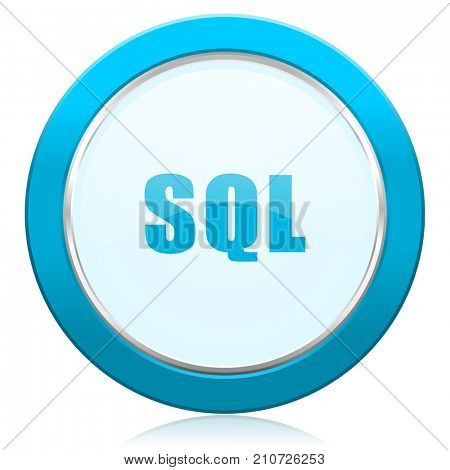 Sql blue chrome silver metallic border web icon. Round button for internet and mobile phone application designers.