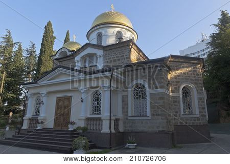 Transfiguration Church in Hosta district of Sochi city early morning, Krasnodar region, Russia