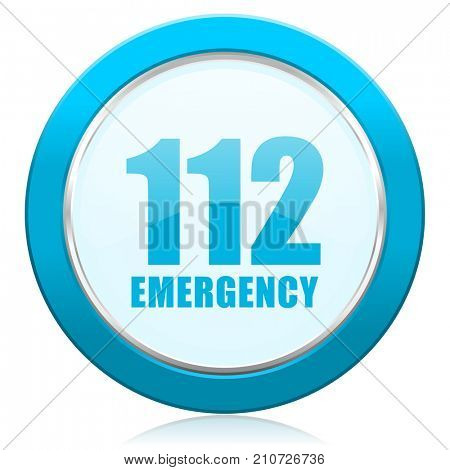 Number emergency 112 blue chrome silver metallic border web icon. Round button for internet and mobile phone application designers.