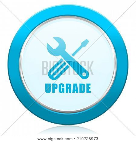 Upgrade blue chrome silver metallic border web icon. Round button for internet and mobile phone application designers.