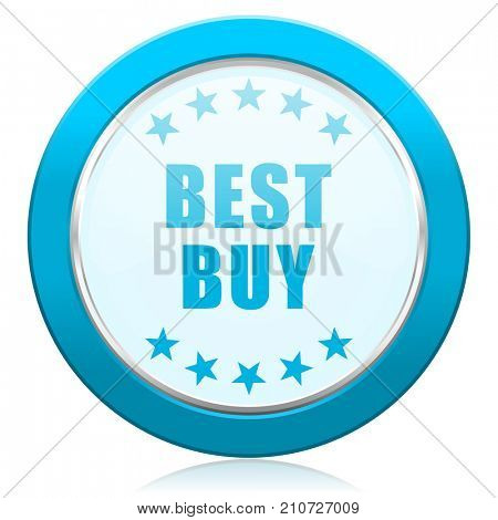 Best buy blue chrome silver metallic border web icon. Round button for internet and mobile phone application designers.