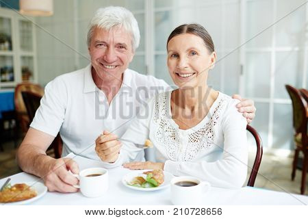 Affectionate senior spouses having tasty dessert with coffee in cafe