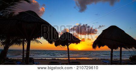Mahahual Caribbean beach sunrise sunroof in Costa Maya of Mayan Mexico