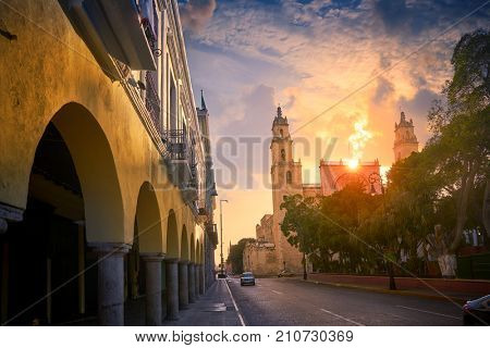 Merida San Idefonso cathedral sunrise in Yucatan Mexico