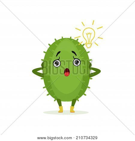 Funny surprised surprised cactus, cute frightened plant character cartoon vector Illustration on a white background